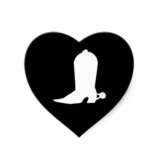 Cowboy boot in Heart. This could be really cool in negative space and with the right shading