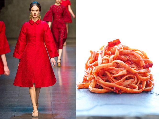 Dolce & Gabbana fw 2013-14 / Linguine in garlic, tomato and chili pepper sauce