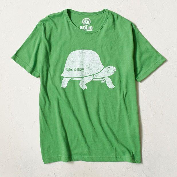 SOLID Threads プリントTシャツ メンズ(グリーン-S)