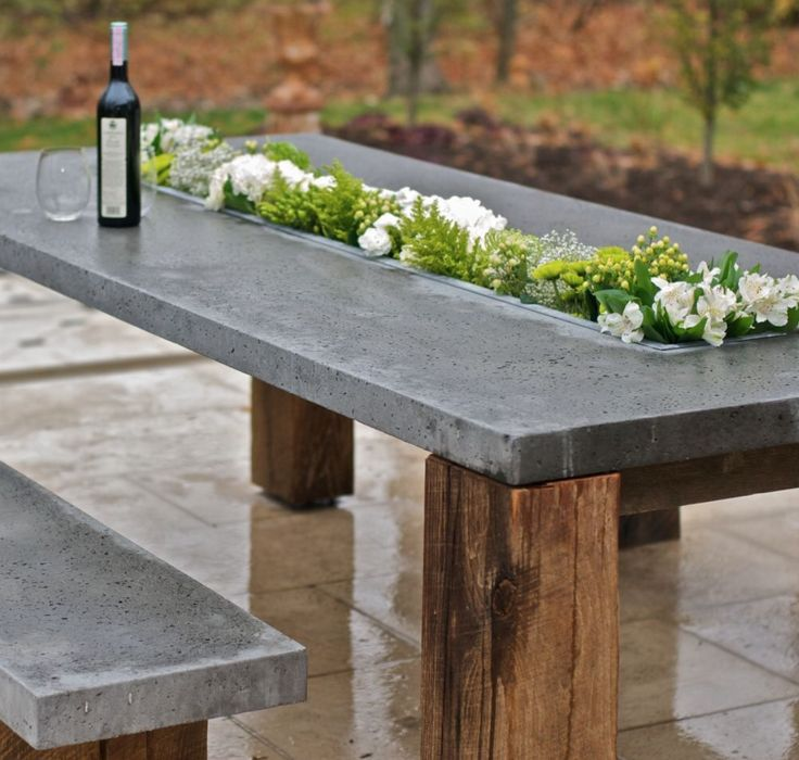 Dream Outdoor Table! All-Weather Concrete and Recycled Wood Outdoor Dining Table with a built in planter for Fresh Flowers all year round. Genius! | Follow rickysturn/diy-home-decor