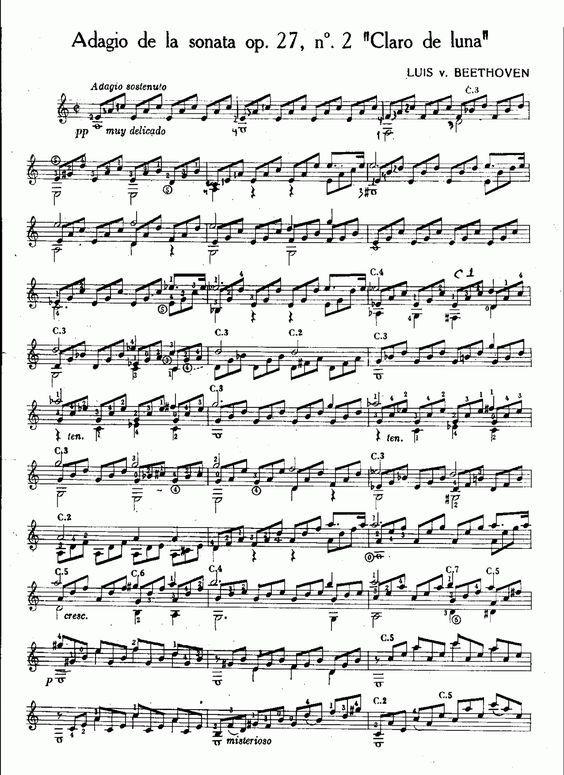 Beethoven - Claro de luna | Partituras para Guitarra