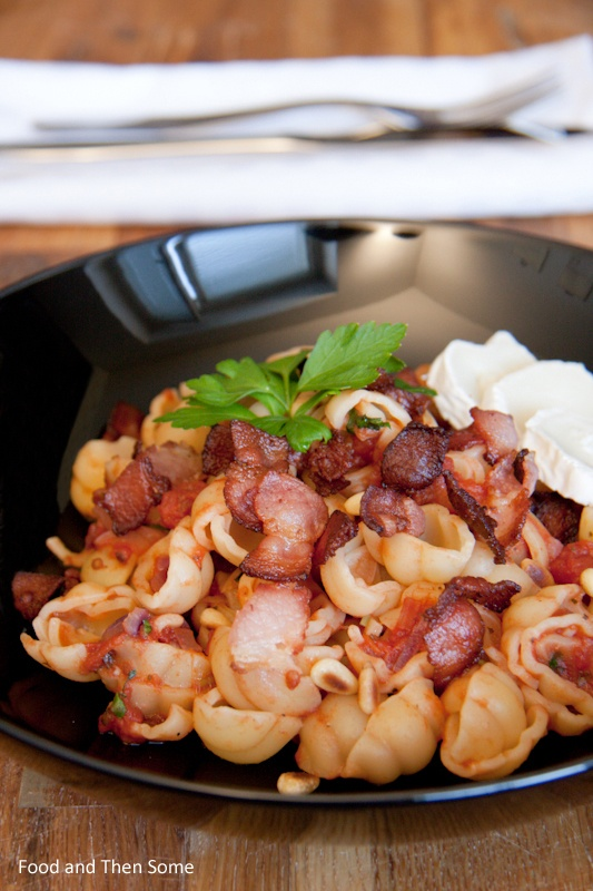 Pasta with Tomato, Chèvre and Bacon