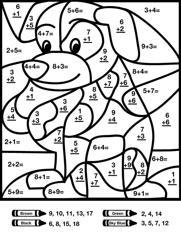 Dog addition color by number worksheet (With images