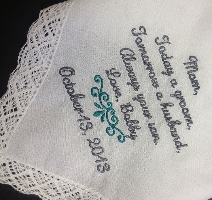 MOTHER Of The GROOM Handkerchief Hanky Hankie -  From the GROOM - Mom - MoG - Wedding  - Today A Groom Always Your Son by MAMWeddings on Etsy https://www.etsy.com/listing/240114811/mother-of-the-groom-handkerchief-hanky