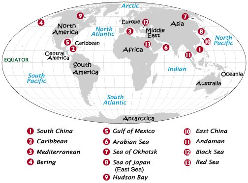 35 best how meny oceans and seas images on pinterest places to a world atlas map locating major seas gumiabroncs Choice Image