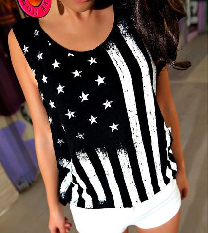 $29.00 | Sexy black and white American flag patterned vest sleeveless T-shirt