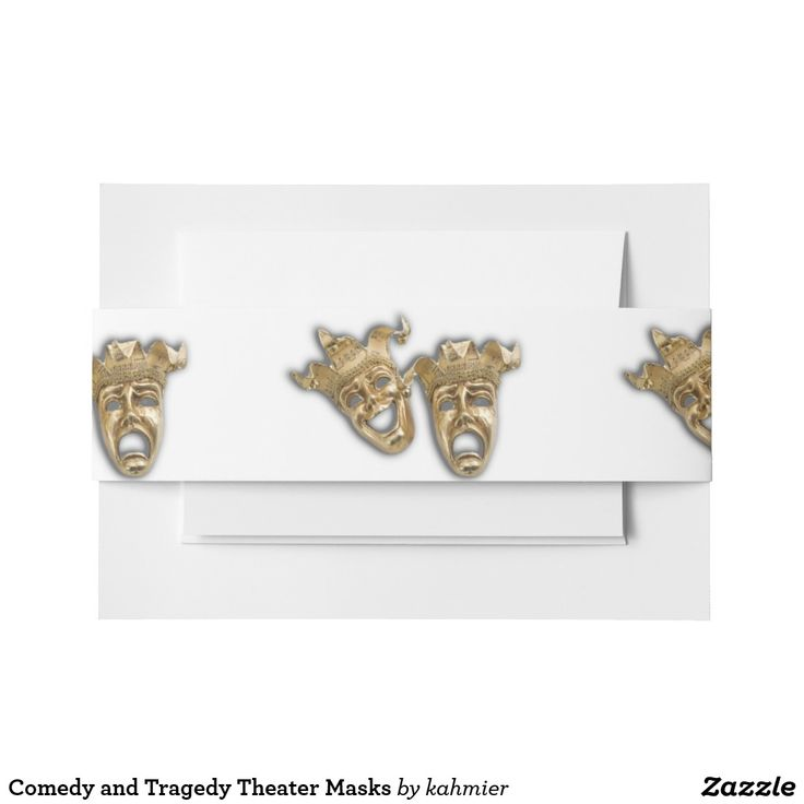 Comedy and Tragedy Theater Masks Invitation Belly Band  #shopping #leatherwooddesign