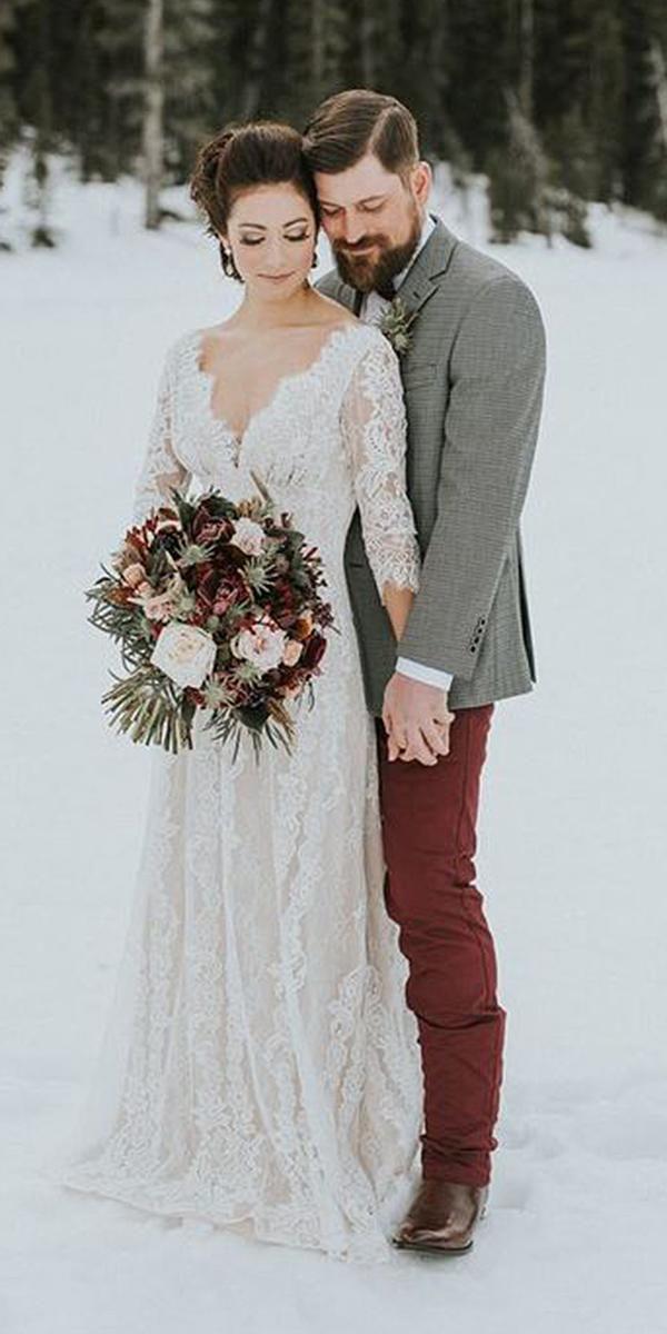 Winter Brautkleider mit Ärmeln tiefem V-Ausschnitt Vintage Louise Hochzeit Foto …   – Wedding Ideas