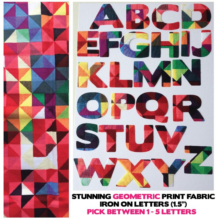 """Fabric Iron On Letters - Geometric Pattern - 1.5"""" Cotton 1-5 Letters for £3!! 