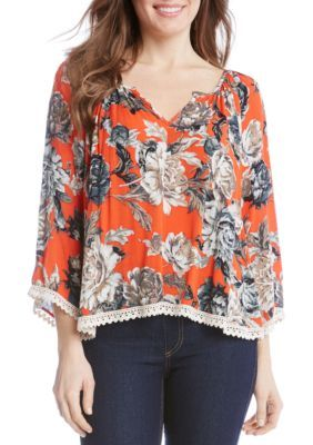Karen Kane Women's Lace Trim Gauze Print Top - Multi - Xs
