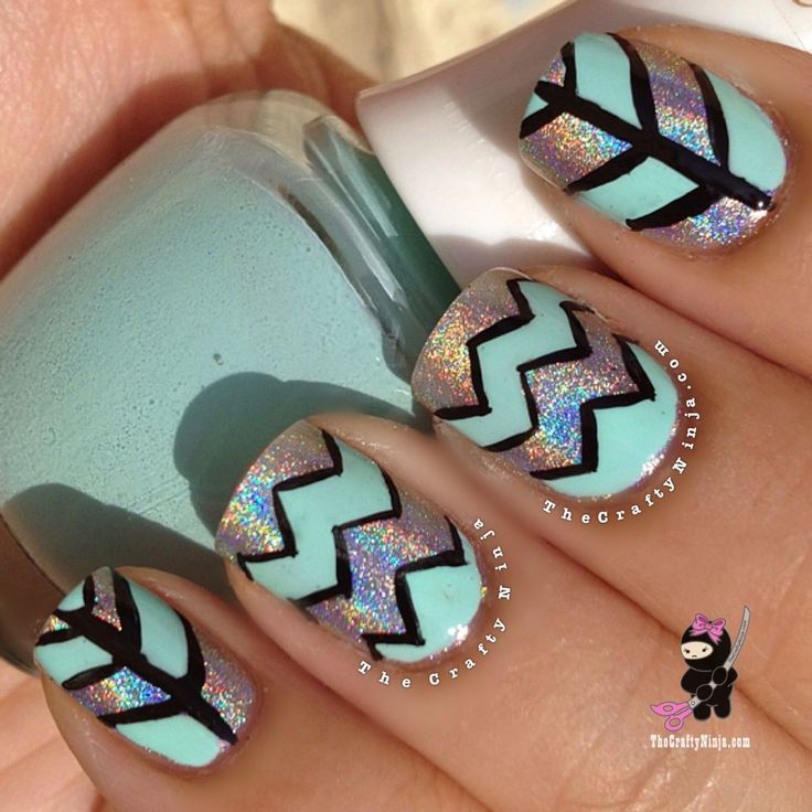Mint and silver holo chevron nails