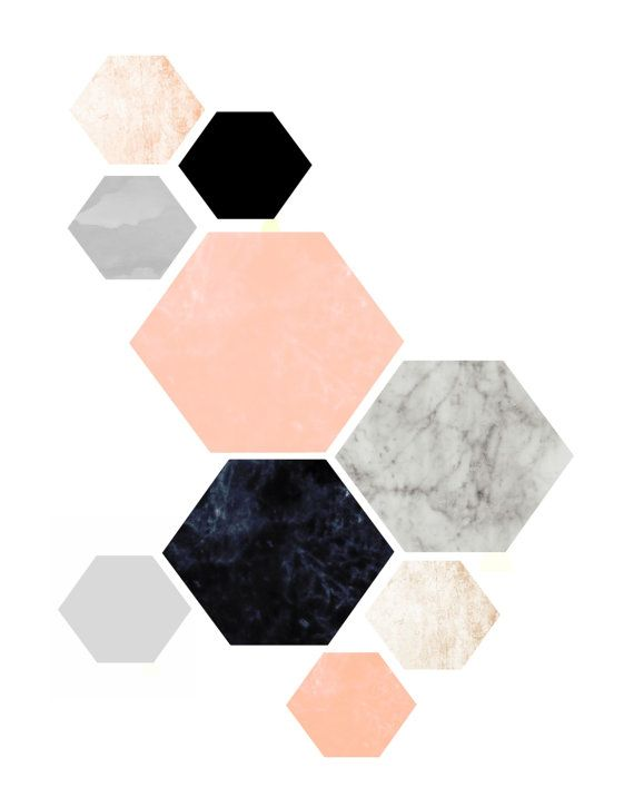 Geometric Art, Geometric Wall Art, Hexagon Print Scandinavian Design, Minimalist…