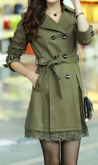 Classy Olive Green Coat With Side Bow And Lace Little Dress