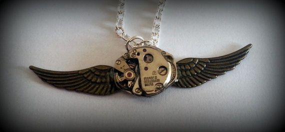 Steampunk fantasy clockwork necklace pendant by SteamCookies