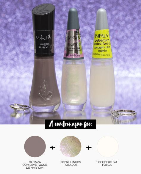 Combinando Esmaltes: cinza rosado metálico e fosco - Unha Bonita