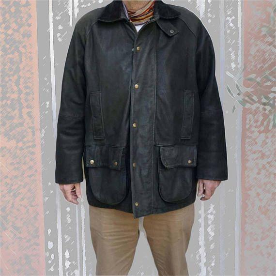 Parka Vintage Mac Douglas Cuir Nubuck Noir Parka Leather Jacket Noir