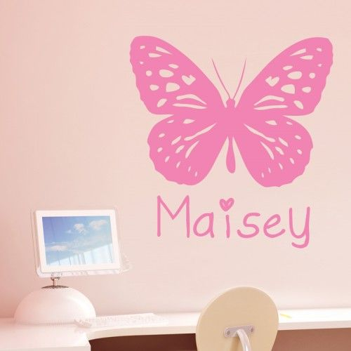 Personalised girl s butterfly bedroom study wall sticker decal vinyl transfer
