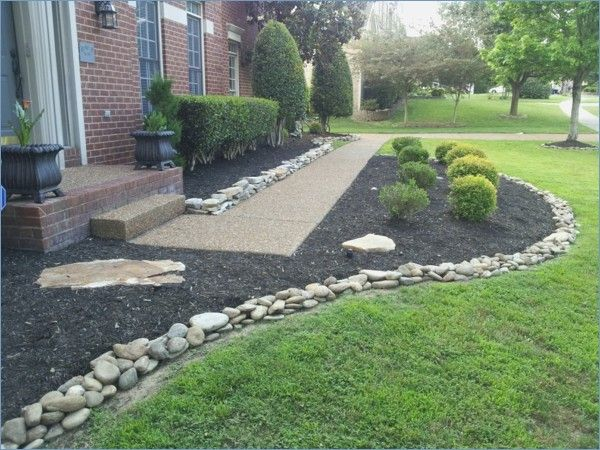 Front Yard Design With Stones And Grasses Design Front Grasses Stones Landscaping With Rocks Backyard Landscaping Landscape Design