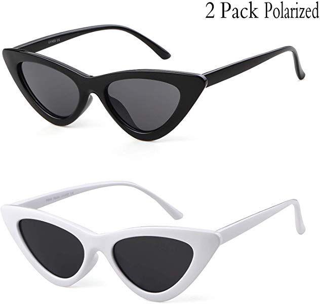 581f395252 Amazon.com  Clout Goggles Cat Eye Sunglasses Vintage Mod Style Retro Kurt  Cobain Sunglasses (Black Red(2 packs)