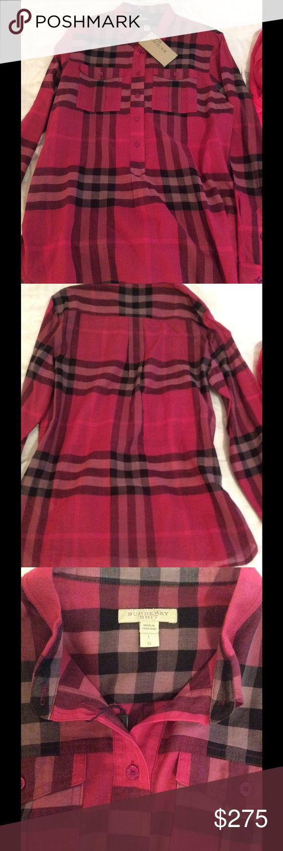 SALE Authentic Burberry Shirt Burberry fuchsia shirt is new with tags. Size is large and is made of 100% lightweight cotton. Burberry Tops Button Down Shirts