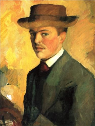 Self-Portraitwith Hat - August Macke, 1909. :Expressionism, Oil, Wood