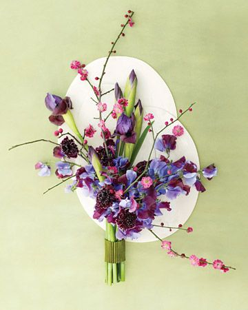 Lilac-colored Dutch irises anchor this architectural bouquet
