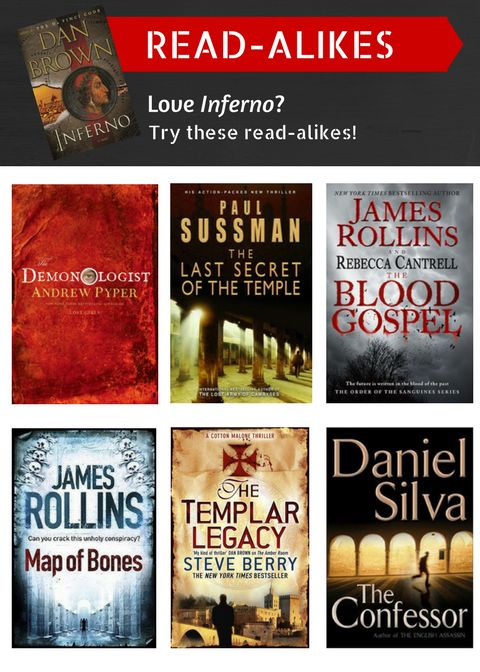 Read-alikes for Inferno by Dan Brown: The Demonologist by Andrew Pyper, The Last Secret of the Temple by Paul Sussman, The Blood Gospel by James Rollins and Rebecca Cantrell, Map of Bones by James Rollins, The Templar Legacy by Steve Berry, and The Confessor by Daniel Silva.