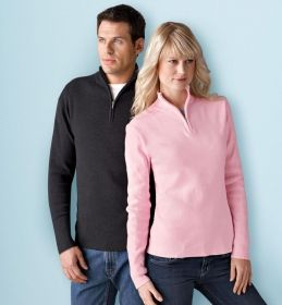 Promotional Products Ideas That Work: LADIES' HALF-ZIP MOCK NECK SWEATER. Get yours at www.luscangroup.com