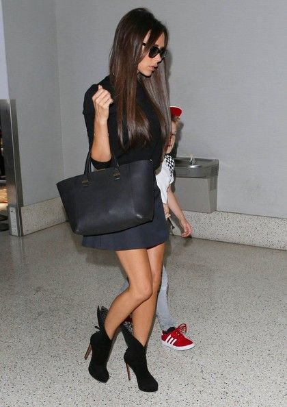 Victoria Beckham - The Beckham Family Departing On A Flight At LAX