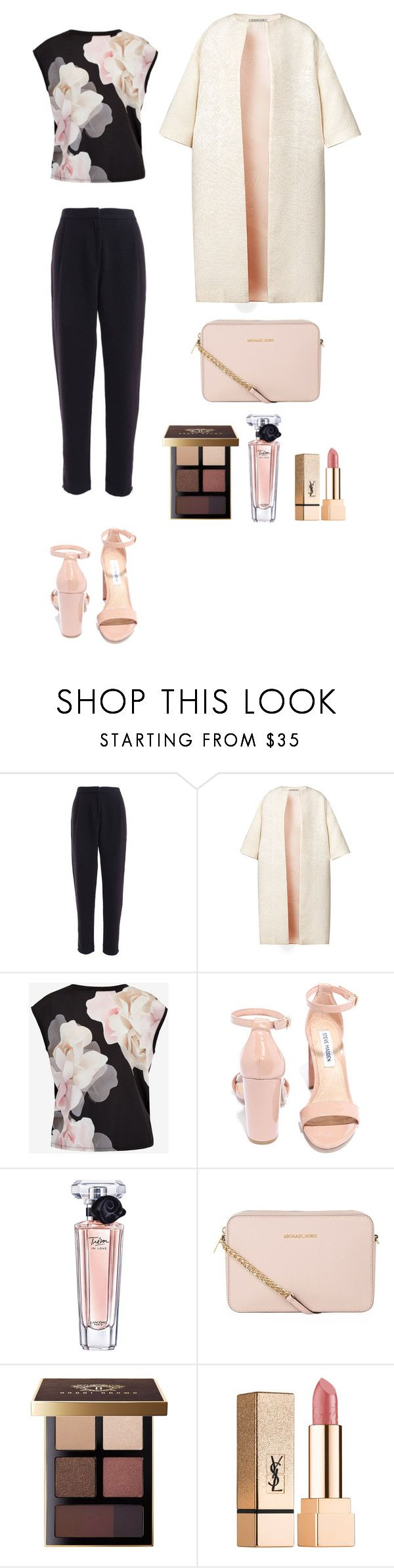 """Style #90"" by maksimchuk-vika ❤ liked on Polyvore featuring Esme Vie, Ted Baker, Steve Madden, Lancôme, MICHAEL Michael Kors, Bobbi Brown Cosmetics and Yves Saint Laurent"