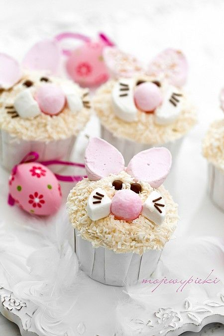 Adorable pink and white Easter bunny cupcakes. #spring #Easter #food #cupcakes