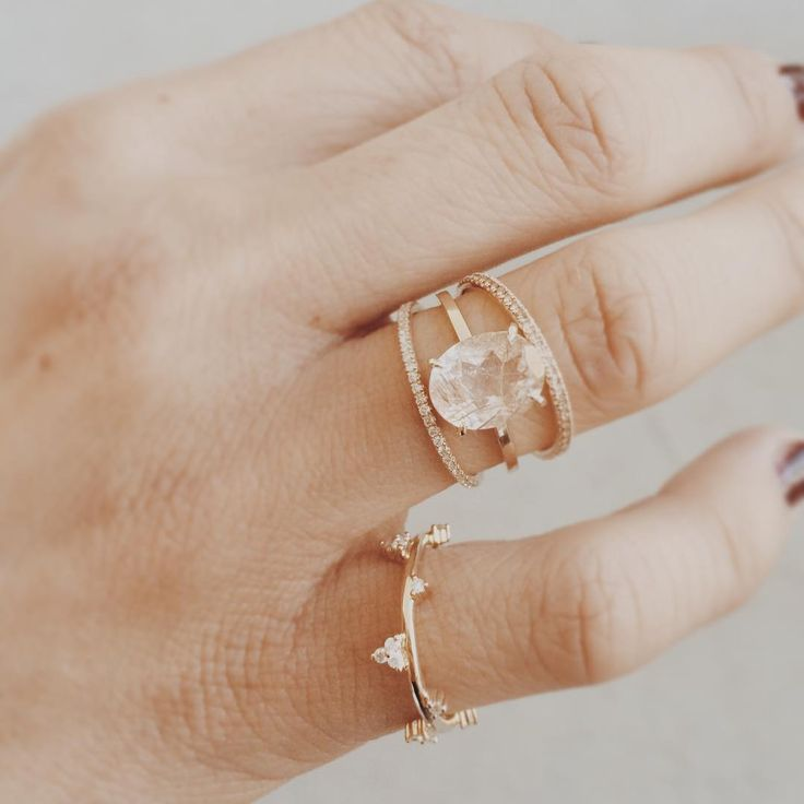 """""""✨ Morning sparkle  Oval rutile Quartz engagement ring, paired with a few of my new fine diamond band styles - available to custom order and launching…"""""""