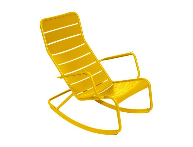 Fermob Luxembourg Rocking Chair. The Luxembourg Rocking Chair will make a statement on any patio.This low rocker takes its inspiration from the Luxembourg Low Chair and adds a headrest portion for ultimate comfort. It pairs perfectly with the Luxembourg Small Low Table as a side table or a footrest when in stationary mode.