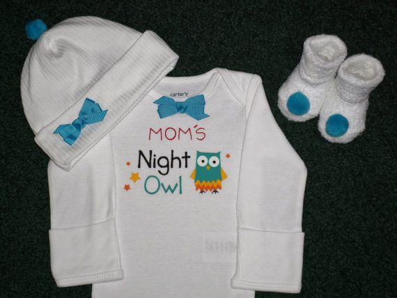 Mom's Night Owl Newborn Baby Girl Onesie Gift Set by SugarBearHair