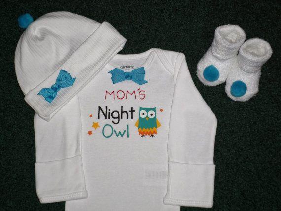 Mom's Night Owl Newborn Baby Girl Onesie Gift Set by SugarBearHair