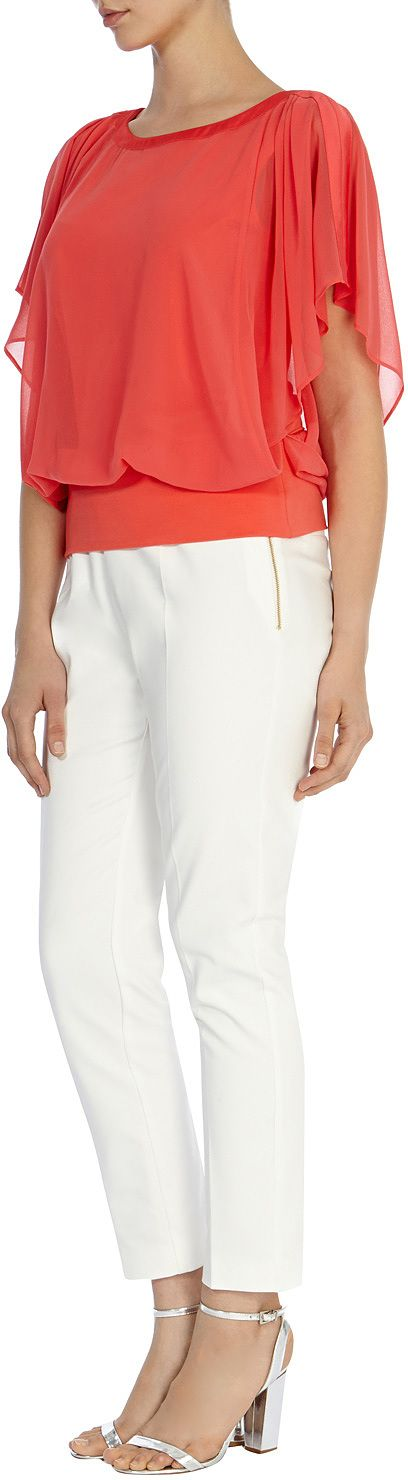 Womens coral red libertina calla top from Coast - £69 at  ClothingByColour.com