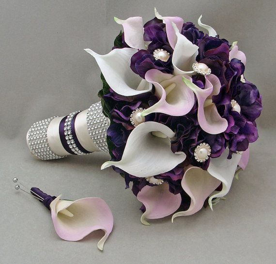 Purple & Lavender Real Touch Calla Lily Wedding Bouquet Real Touch Lavender White Calla Lilies Purple Hydrangea Rhinestone Pearl Accents on Etsy, $185.00
