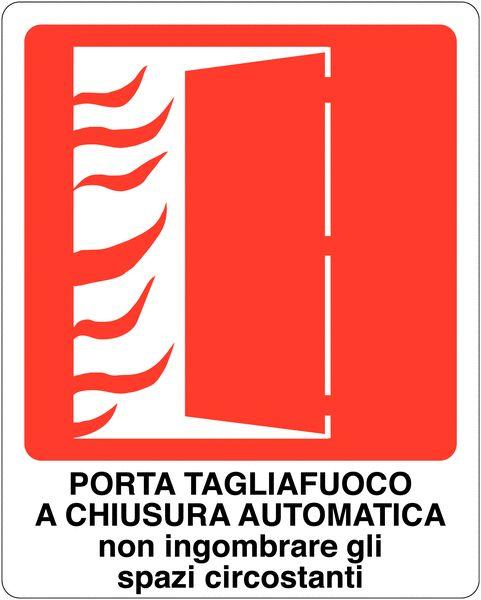 Cartelli antincendio con pittogramma e testo - Porta tagliafuoco a chiusura automatica