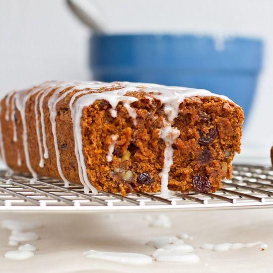 Whole-Grain Vegan Carrot Cake Loaf with Lemon Glaze