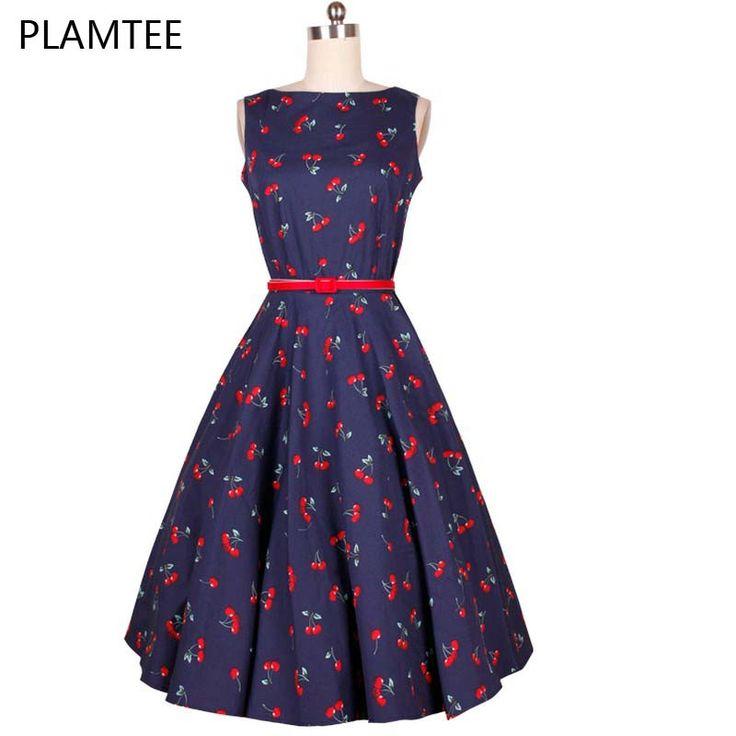 ファッション女性のためのサマードレス50年代60年代のビンテージプリントローブチェリーファムスイングプラスサイズパーティードレス新スタイルのレトロvestidos(China (Mainland))