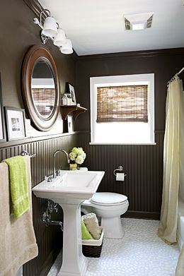 Bathroom: Bathroom Design, Beads Boards, Bathroom Color, Small Bathroom, Dark Brown, Half Bath, Bathroom Ideas, Brown Wall, Dark Wall
