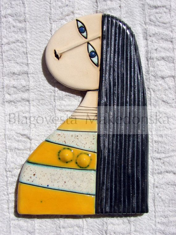 Girl with yellow dress  Original handmade by MakedonskaCeramicArt