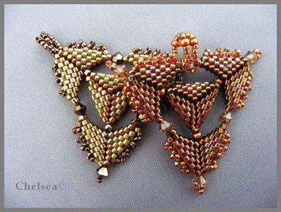 """""""Teamwork"""" pendants by Chelseaspearls - nice geometric peyote!"""