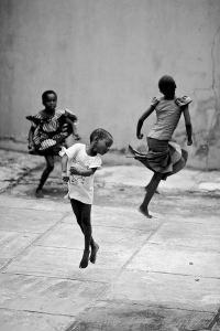 African dance. Jump. Kids love to dance.