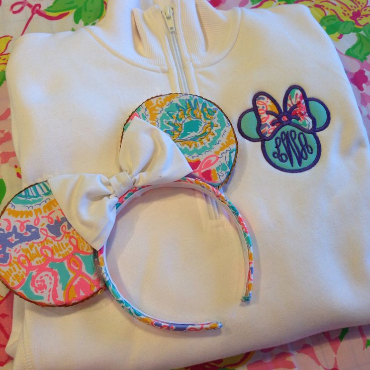 Minnie Bow Monogram Pullover with Lilly Pulitzer Fabric from Pretty Little Monograms and ears from Sail Bows