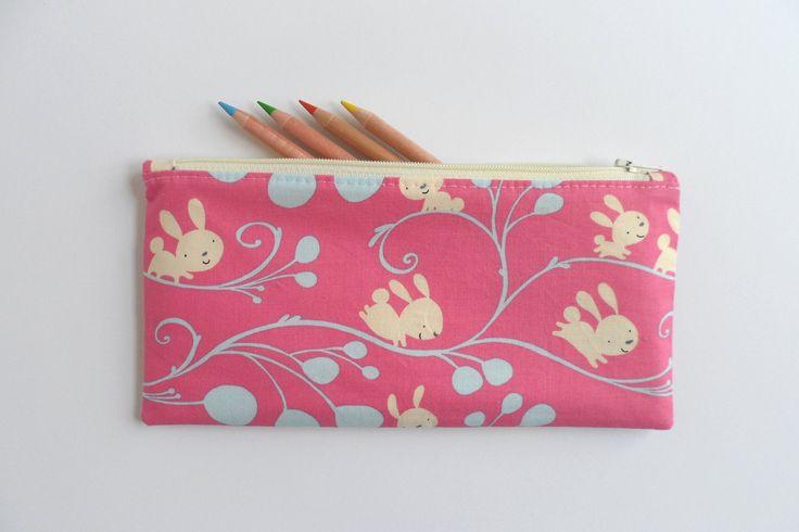 Kids pencil case - pink rabbit fabric, zipper purse, small zipper pouch, toy storage pouch, kids purse, zipper bag, diaper bag pouch by LittleFoxSewsLots on Etsy