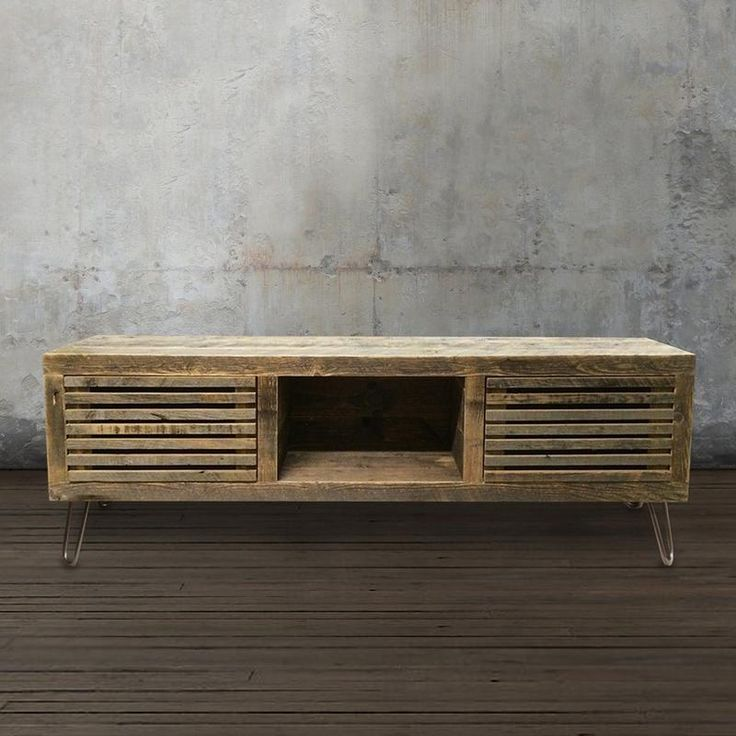 Reclaimed Wood Media Console, Wood Slat Doors - Free Shipping - JW Atlas Wood Co.