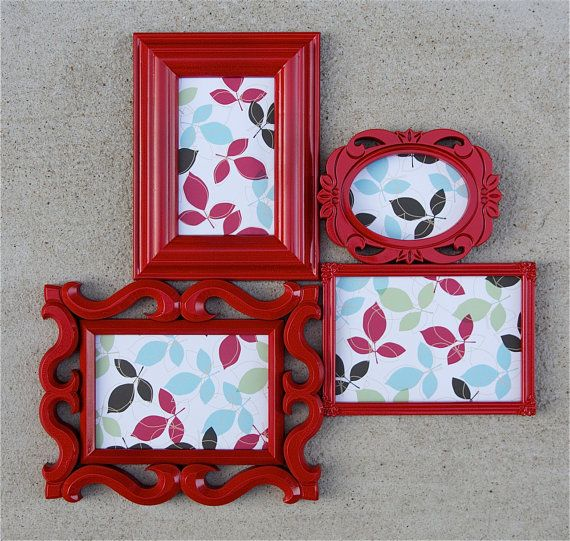 Red Picture Frame Collage  Modern  Wall Gallery by RetroPops, $22.00