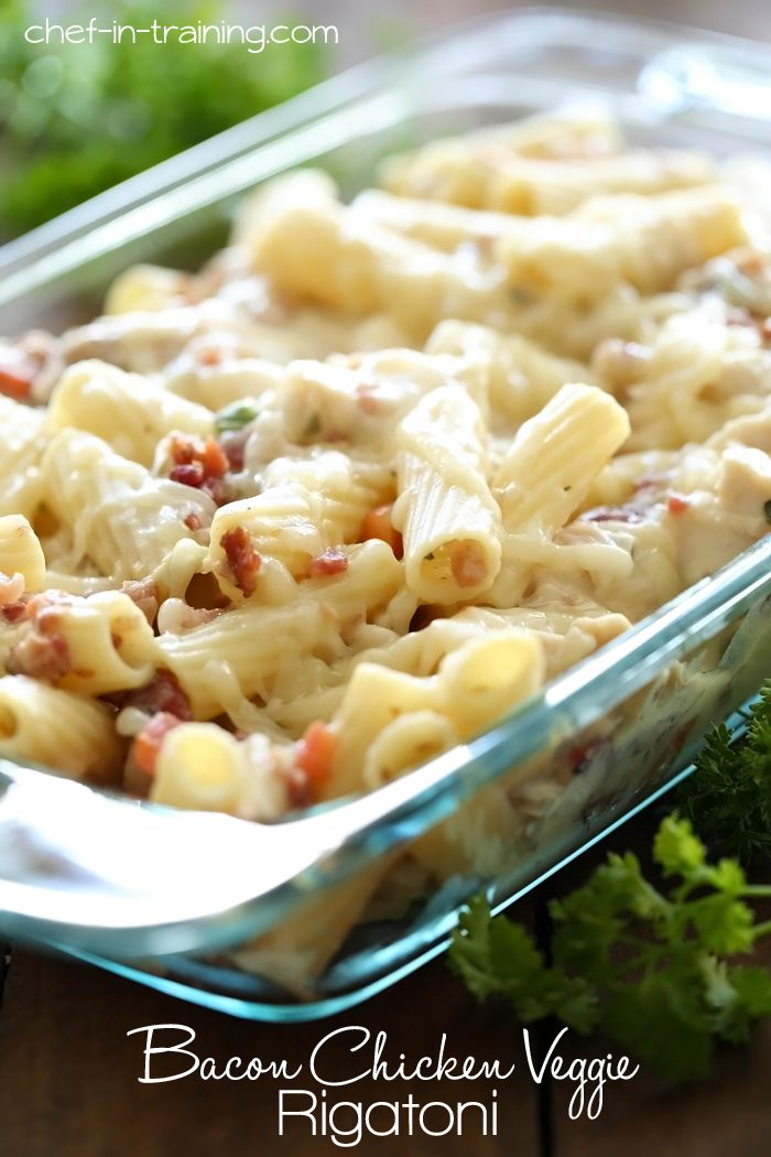 Bacon Chicken Veggie Rigatoni from chef-in-training.com …This dish is simple, delicious and the sauce is a lot lighter than traditional pasta dishes