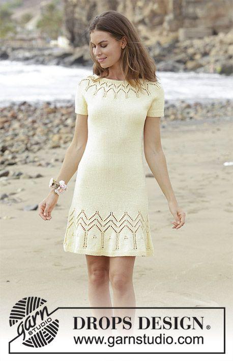 Embrace of the Sun / DROPS 191-5 – Kleid mit Lochmuster, Rundpasse und kurzen Ärmeln, gestrickt von oben nach unten. Größe S – XXXL. Die Arbeit wird gestrickt in DROPS Muskat.